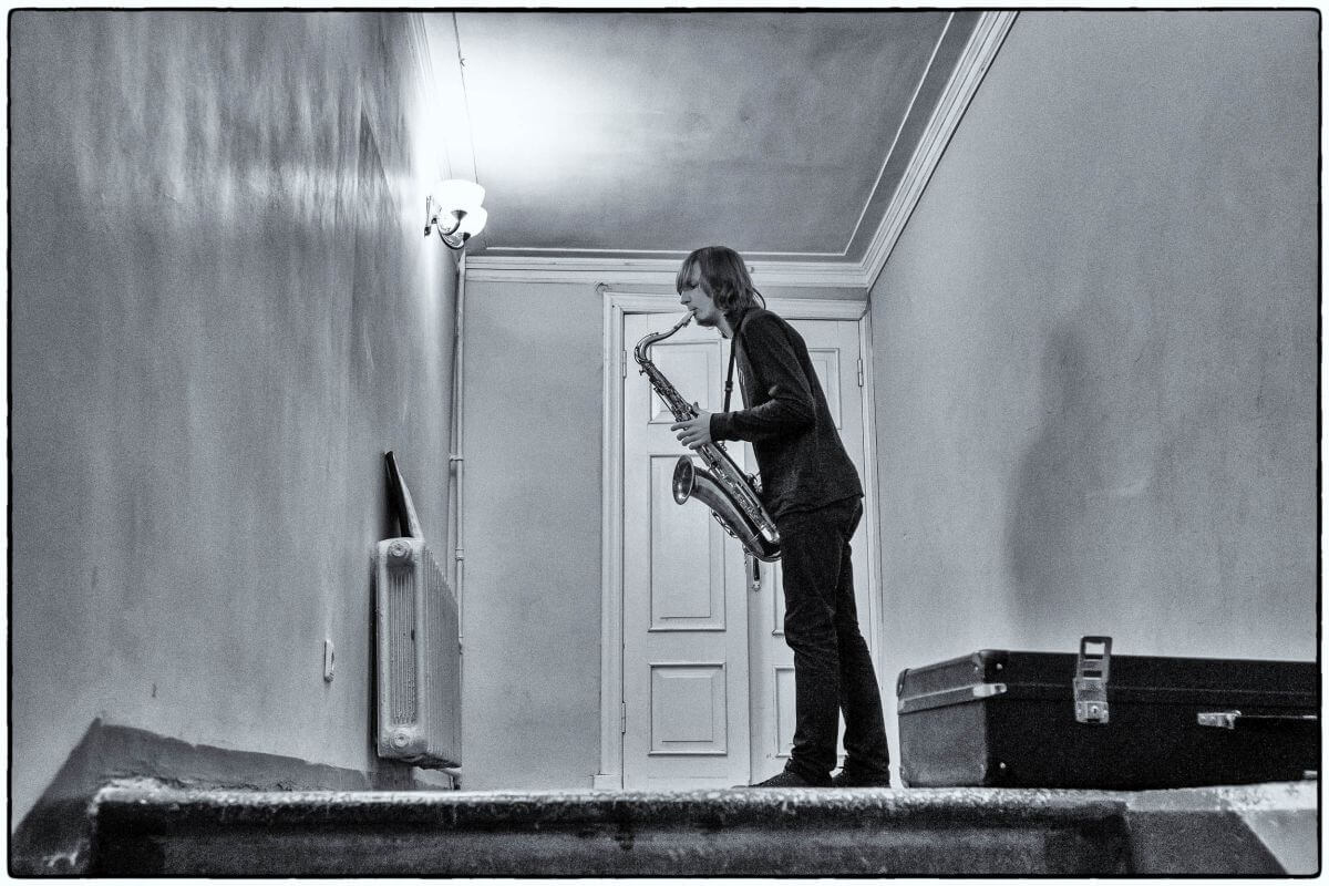 Saxophone Player Practicing